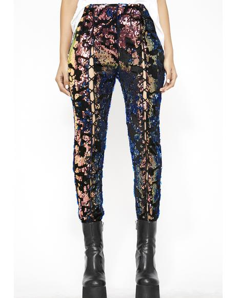 Feelin' Flashy Lace Up Pants