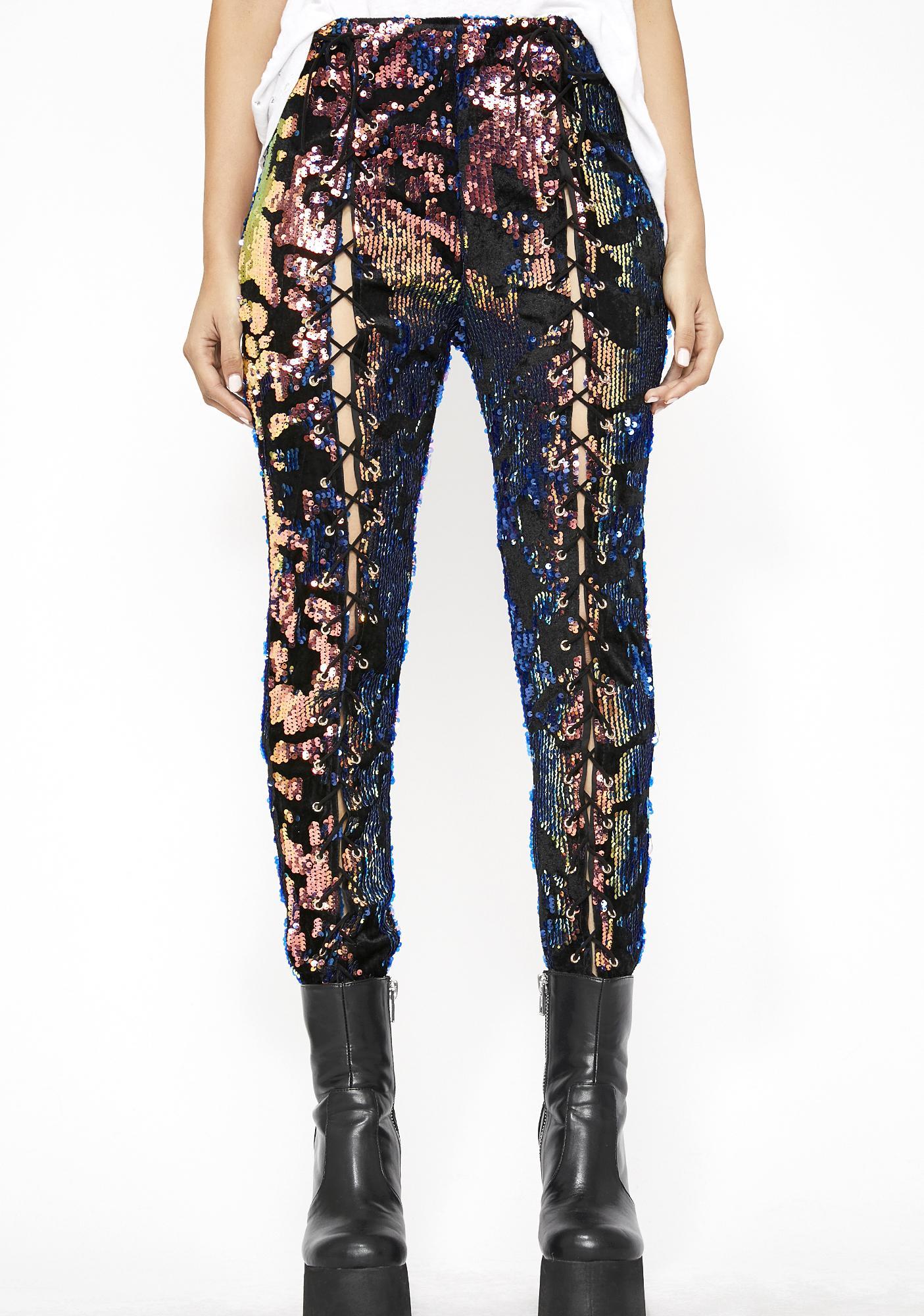 Feelin' Flashy Lace Up Pants
