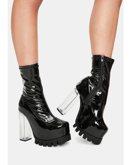 Patent Platform Sock Boots