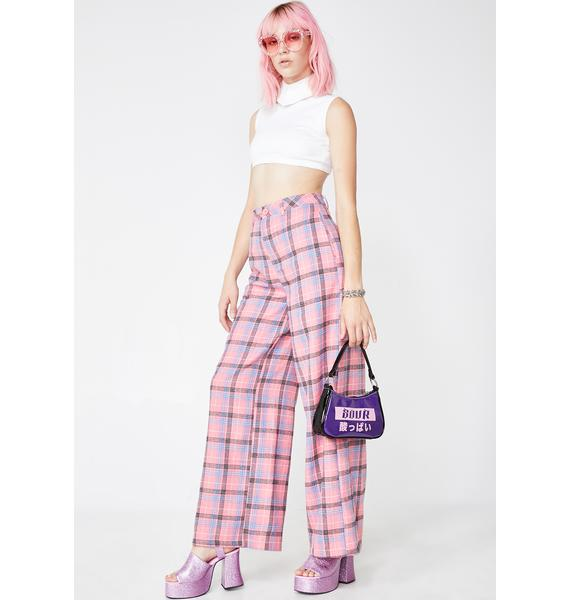 Daisy Street Check Wide Leg Trousers