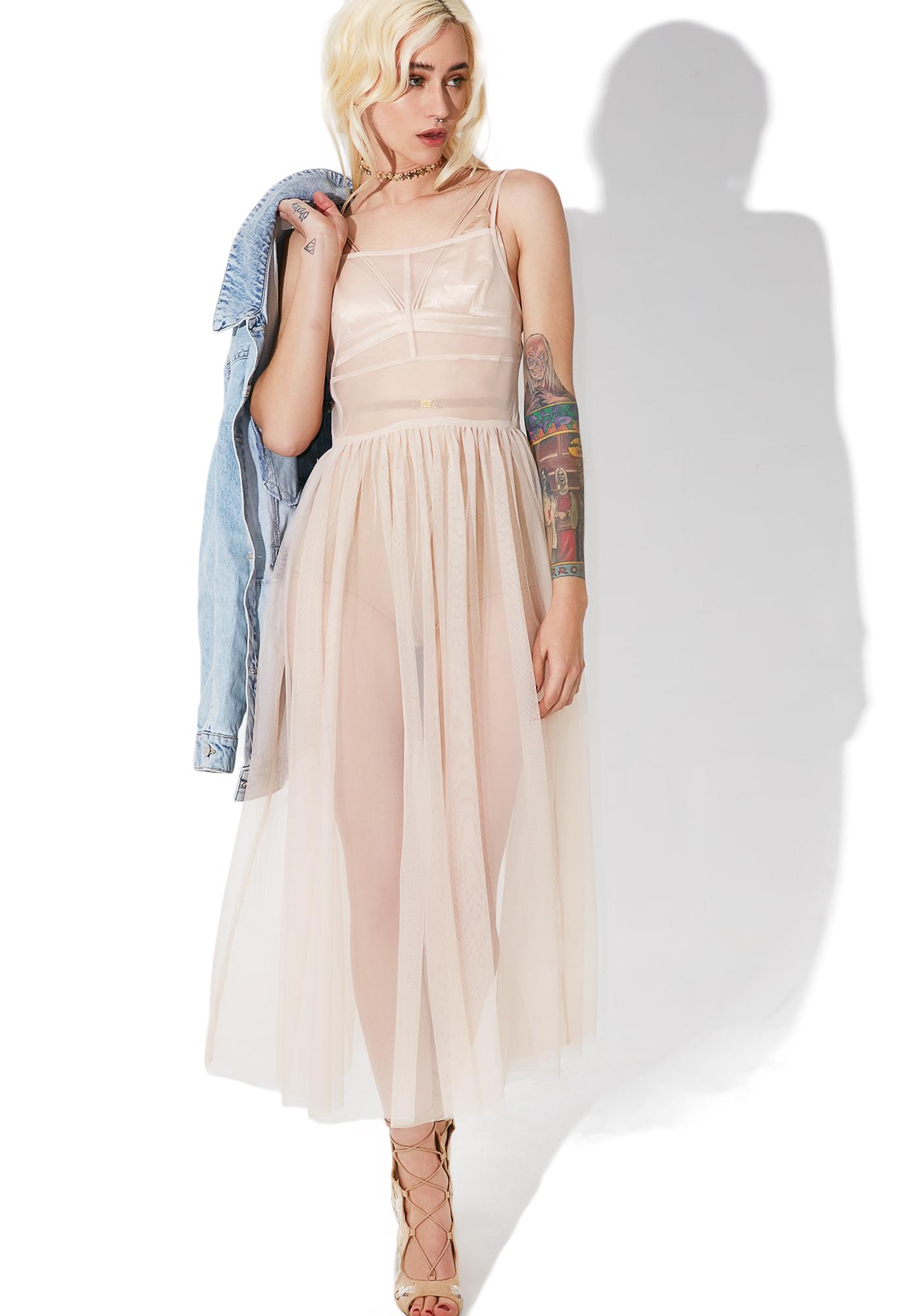 Glamorous Powder Puff Mesh Maxi Dress