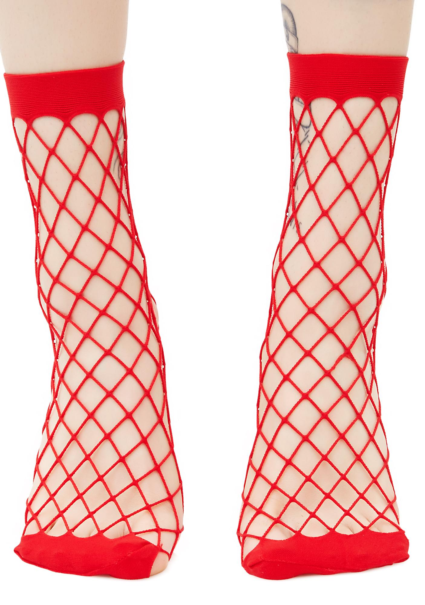 Fire Troublemaker Fishnet Socks