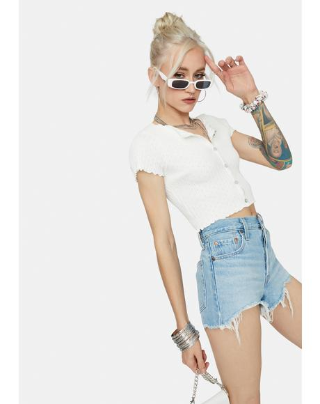 Taking It Easy Button Up Crop Top