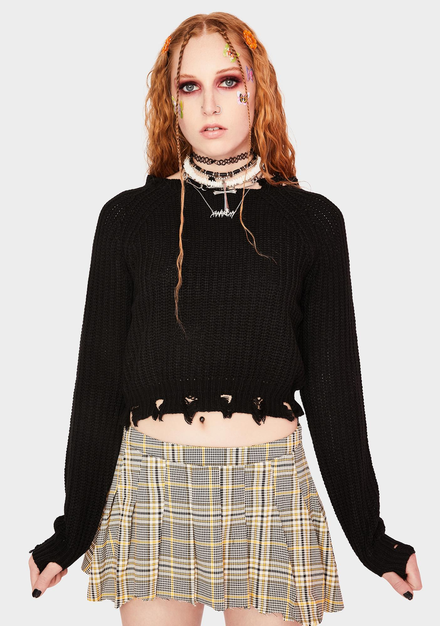 SWNY Cropped Deconstructed Wide Neck Sweater
