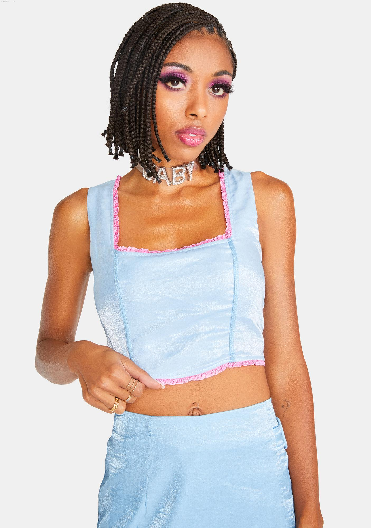 Elsie & Fred Baby Blue Billie Crop Tank Top