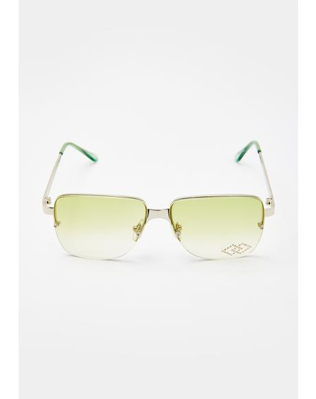 Double Jewel Square Sunglasses