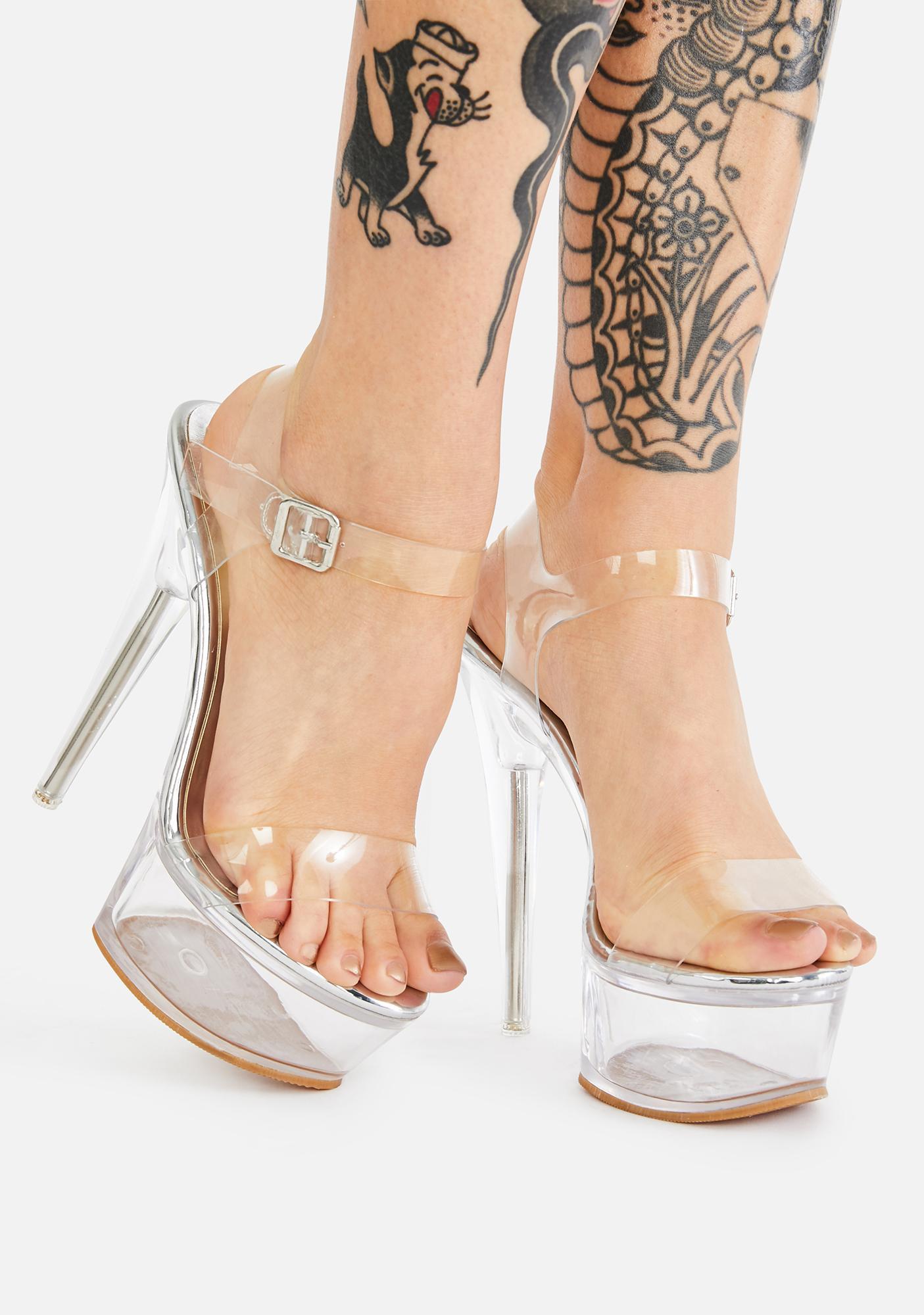 AZALEA WANG Croix Clear Platform Heels