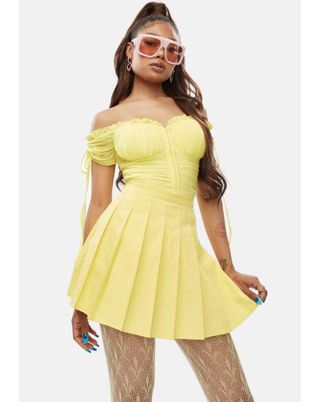 Lemon Just Like Candy Pleated Skirt