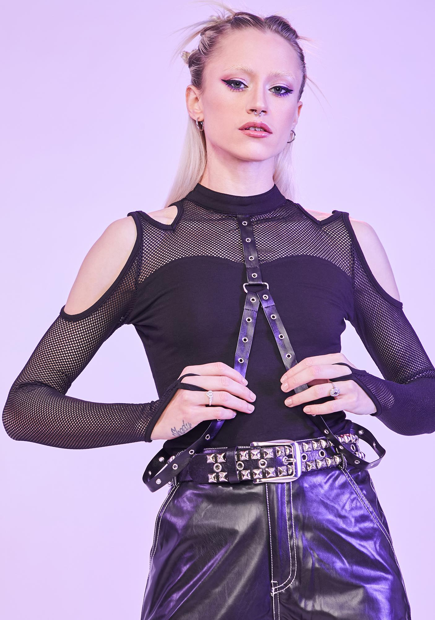 Player Won Fishnet Harness Top
