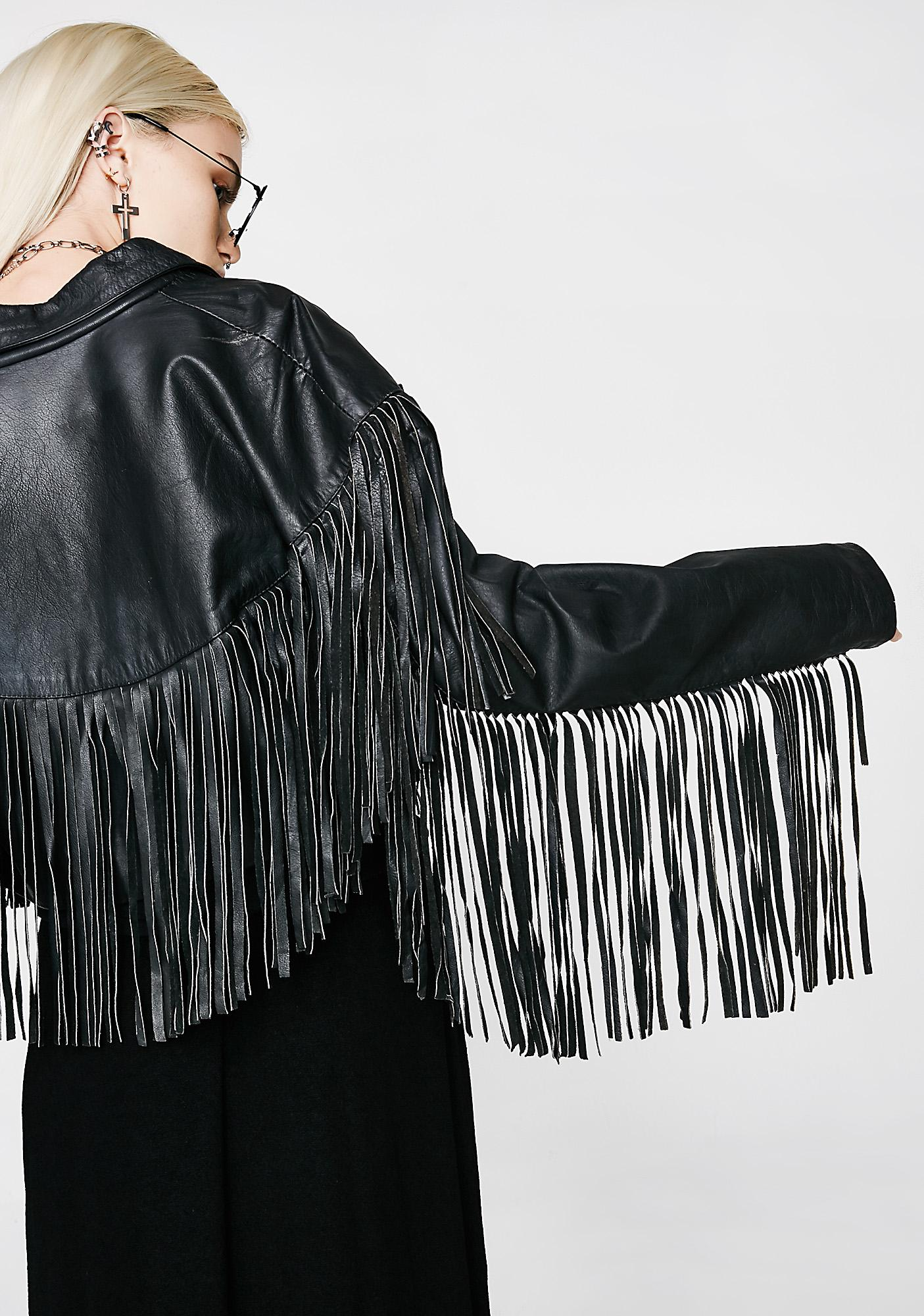 Vintage 80s Leather Fringe Jacket