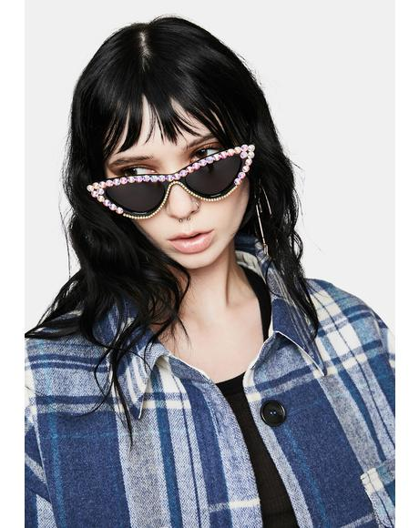 Give Me Glam Rhinestone Cat-Eye Sunglasses