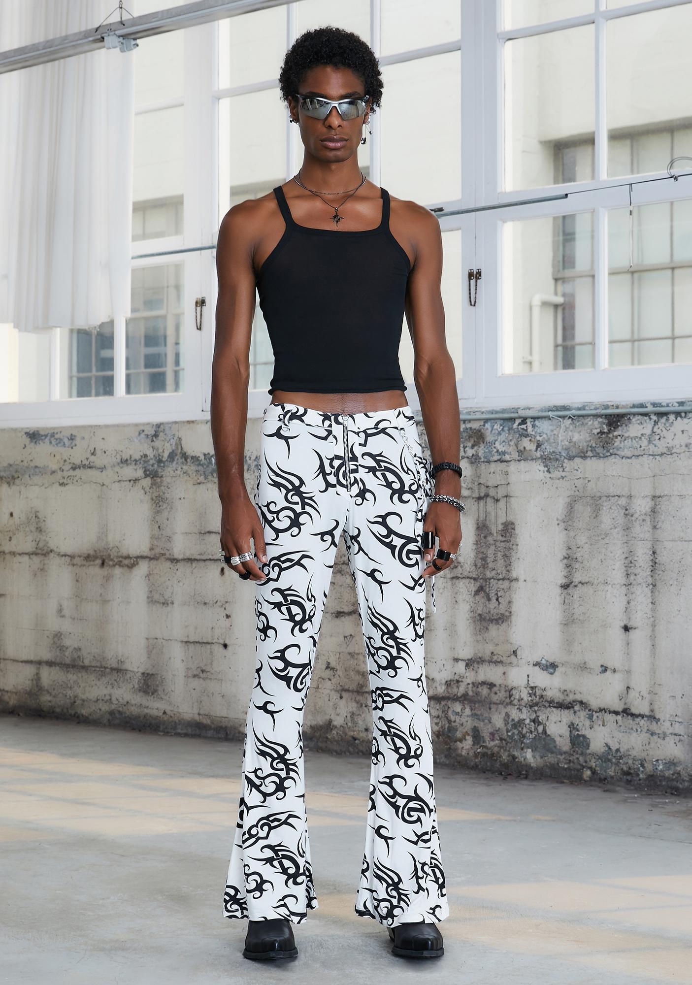 DARKER WAVS Kickdrum Tattoo Print Flare Pants