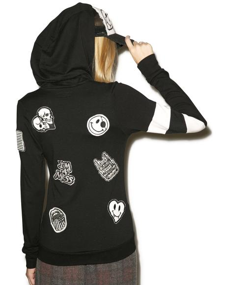 Beth Patches All Over Zip Up Hoodie