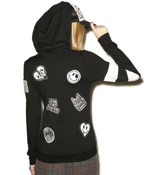 Lauren Moshi Beth Patches All Over Zip Up Hoodie