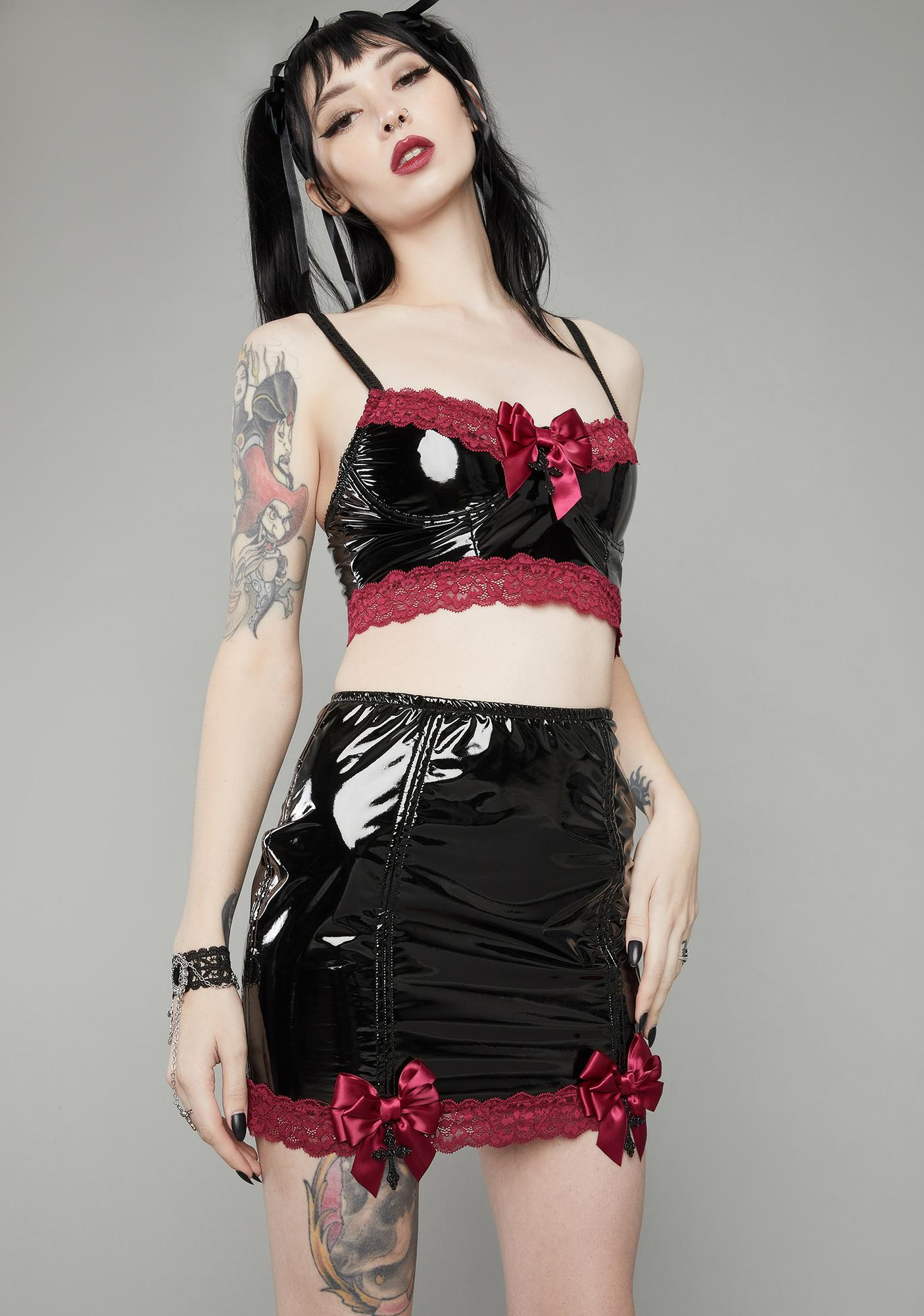 Widow Wine Bewitched Lace Trim Vinyl Skirt