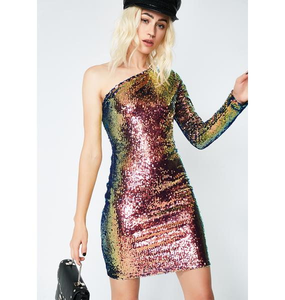 Motel Pink Oil Slick Maria Dress