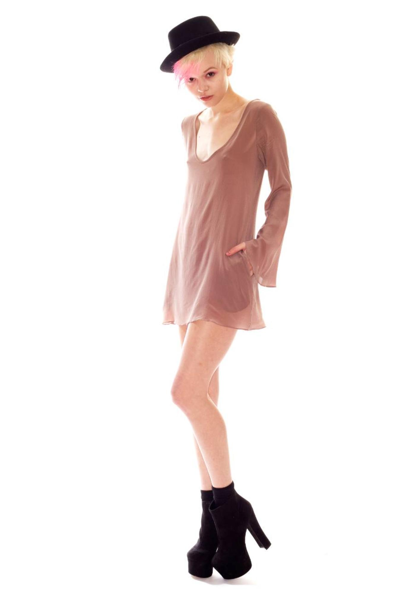 One Teaspoon Prestige Long Sleeve Silk Mini Dress