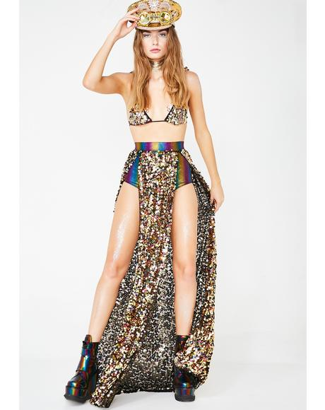 Liquid Sunshine Sequin Skirt N' Booty Shorts