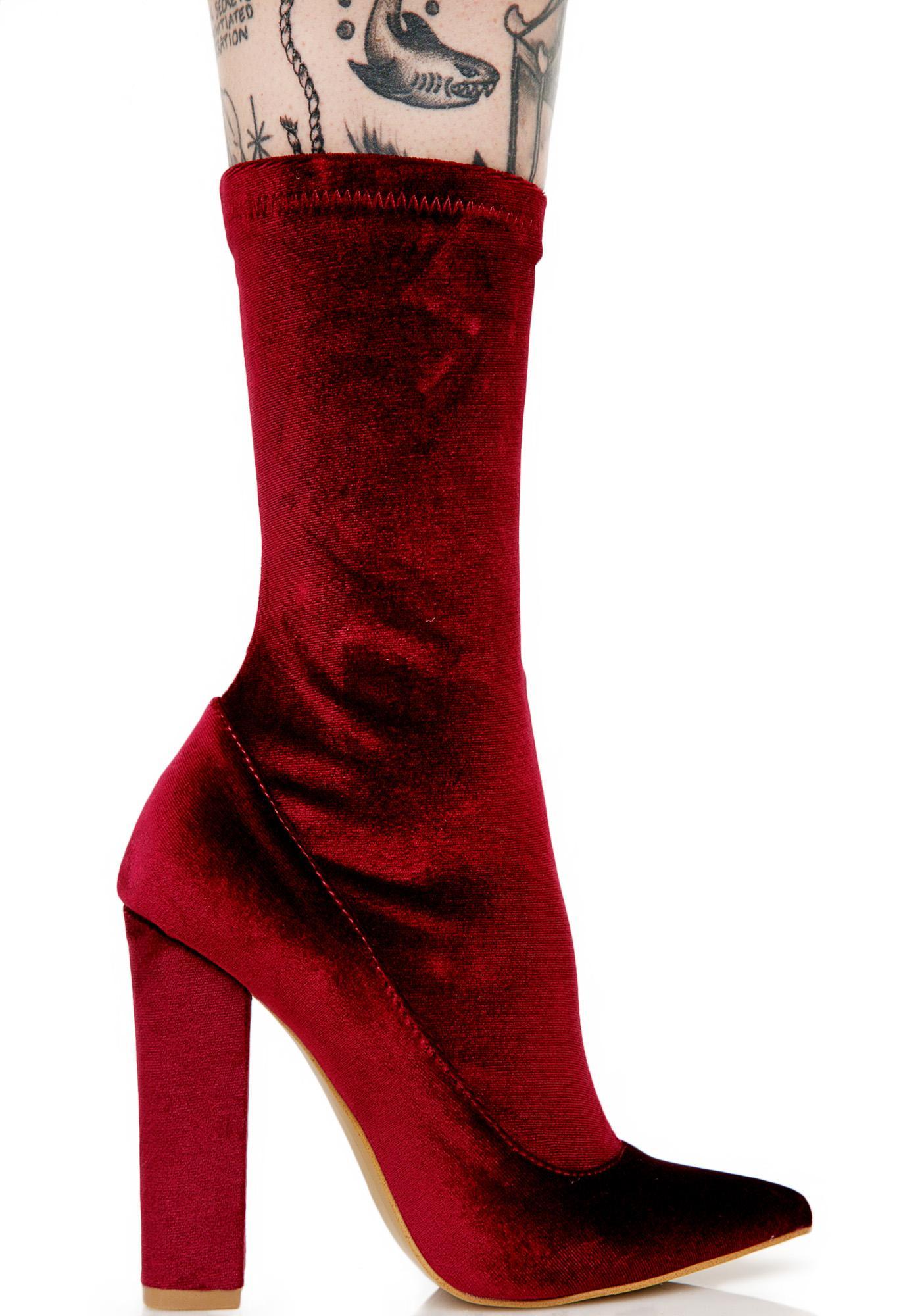 Burgundy Direction Velvet Boots