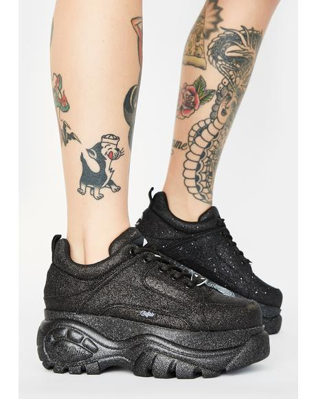 Black Glitter Classic Low Leather Sneakers