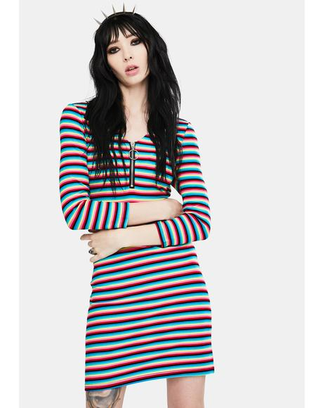LSD Rainbow Stripe Mini Dress