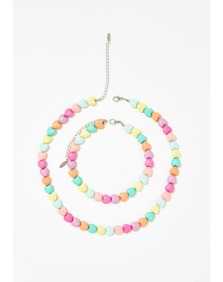 Sweet Emotion Heart Necklace Set