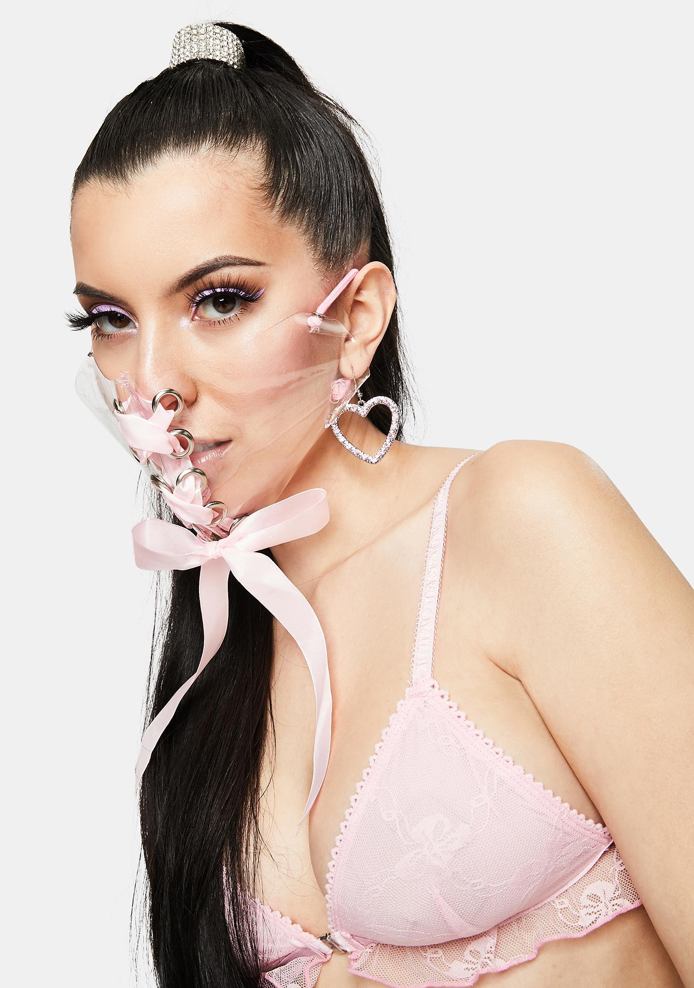 Devil666ish Pink Ribbon Transparent Mask