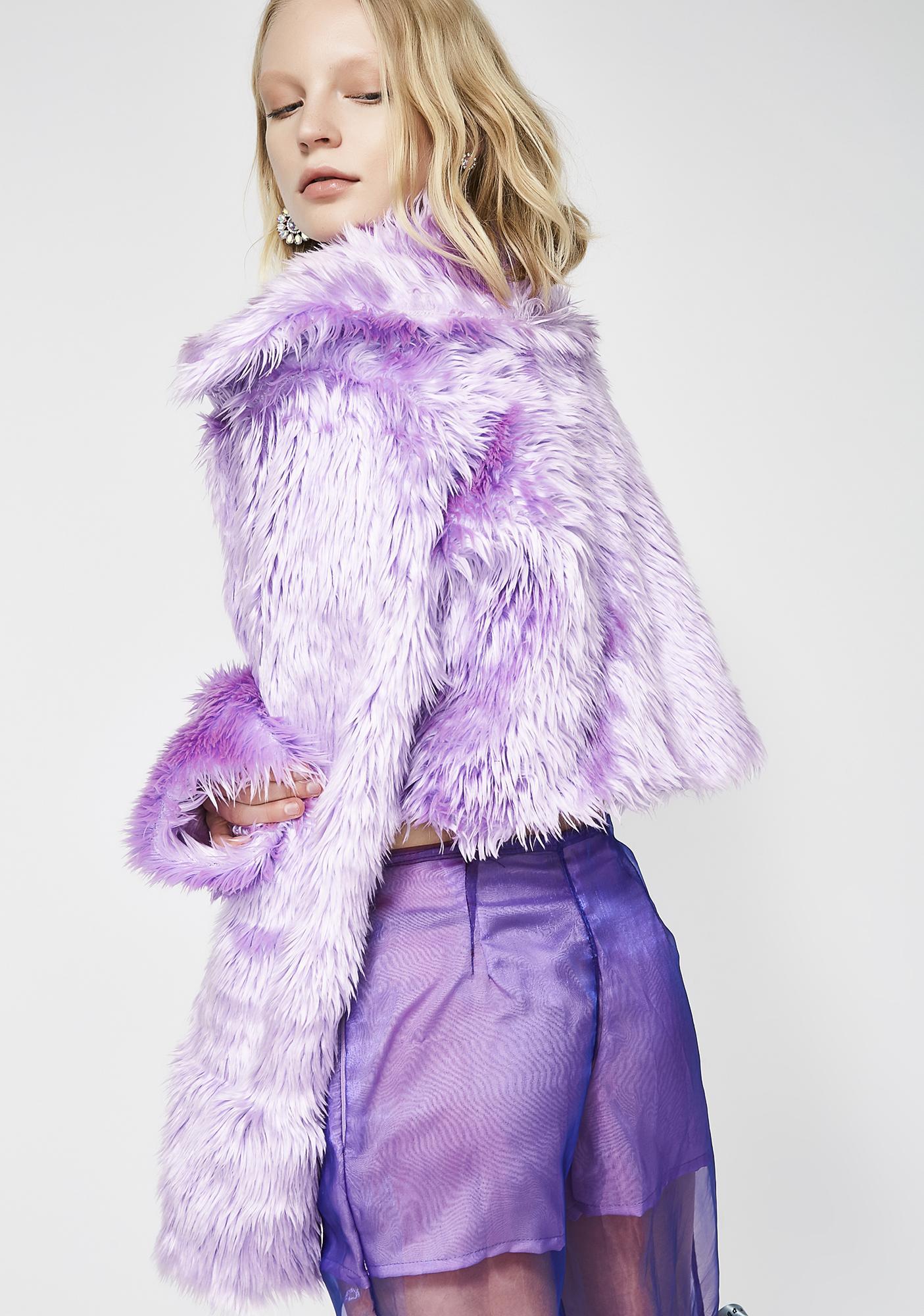 Morph8ne Magenta Faux Fur Coat