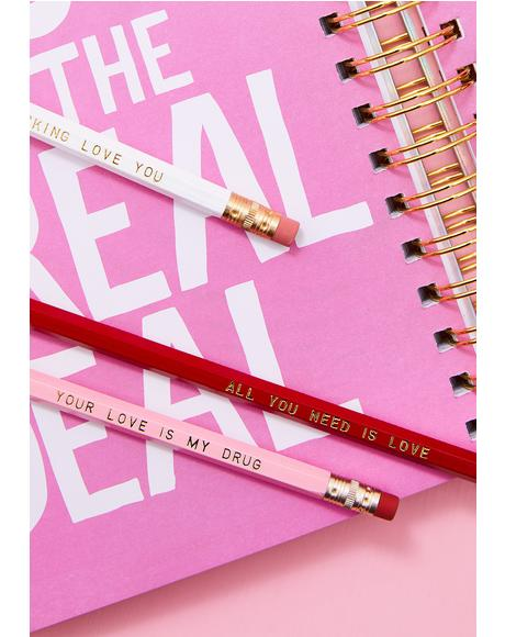 Love Set of 5 Pencils
