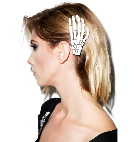Kreepsville 666 Skeleton Bone Hand Hair Slide