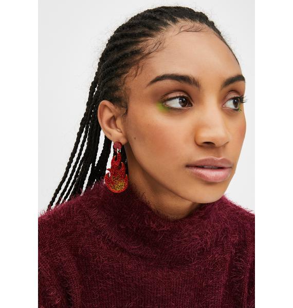 No Basic Bombshell Red Glitter Flame Earrings