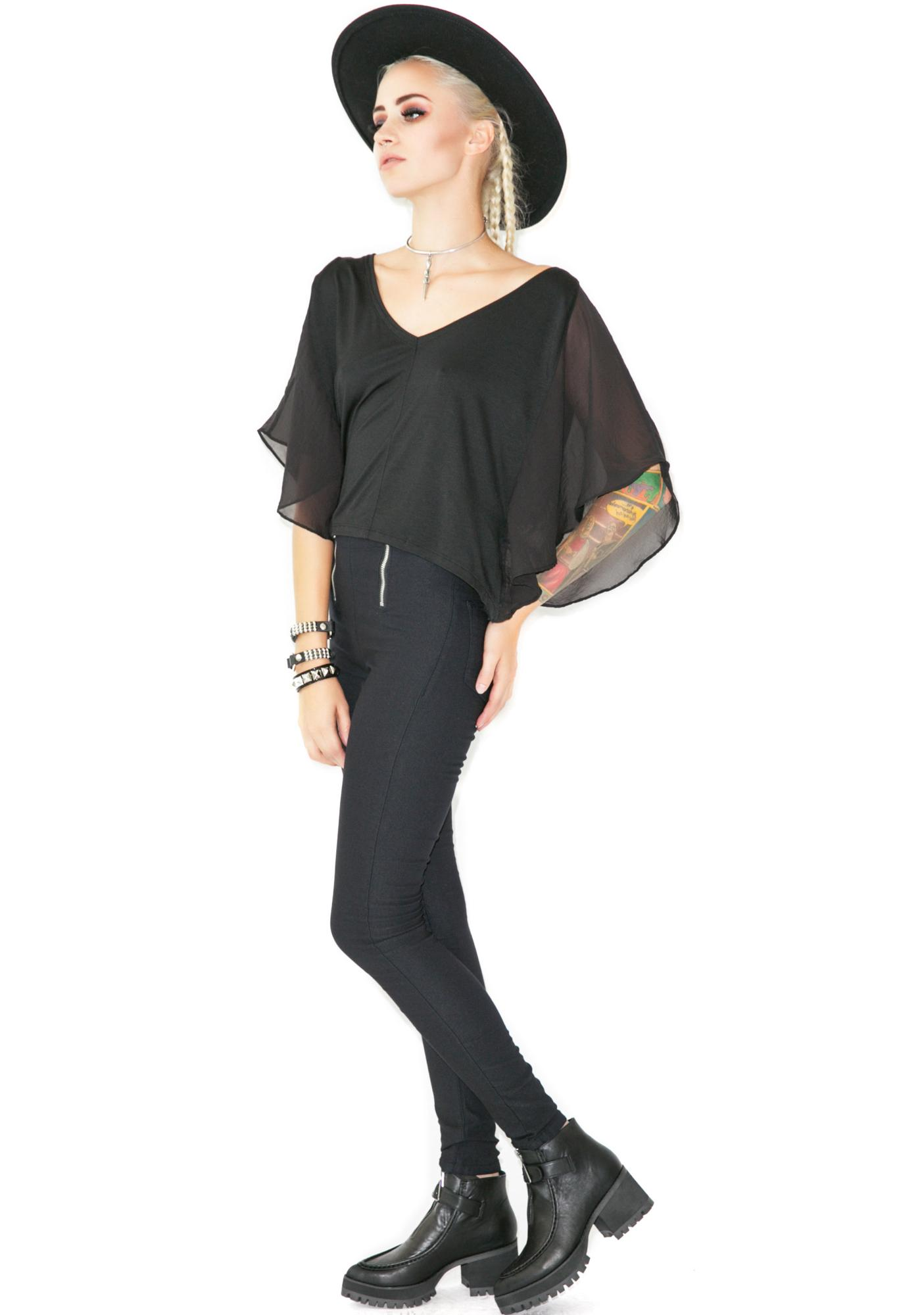 Widow Dark Angel Winged Top