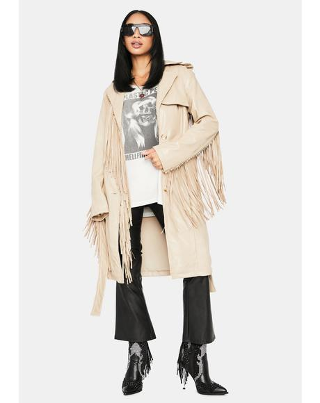 Desert On The Run Fringe Trench Coat