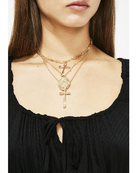 Double Crosser Layered Necklace