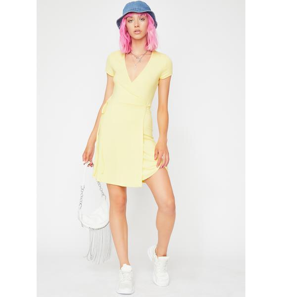 Lemon Sassy Flaunt Ribbed Dress