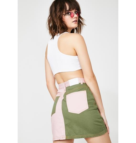 Glamorous Army Chic Denim Skirt