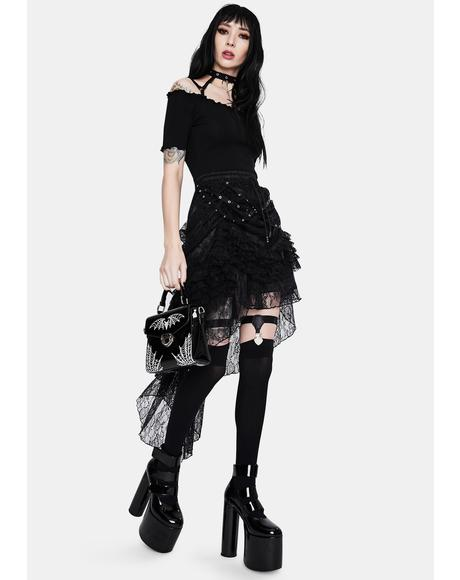 Noir Lace High Low Skirt