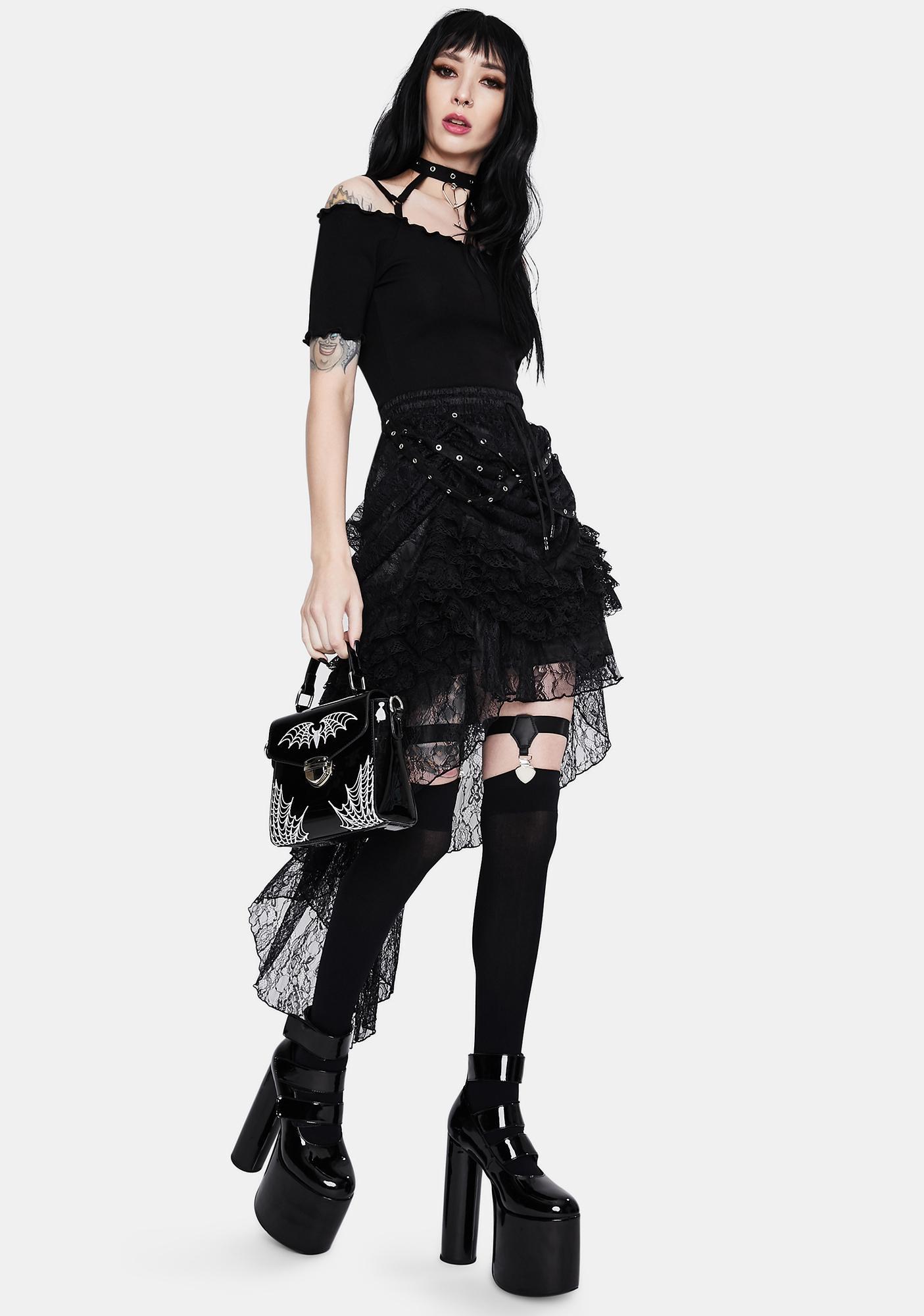 Dark In Love Noir Lace High Low Skirt