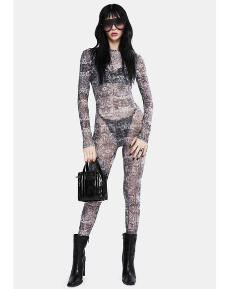 Backless Mesh Snake Print Jumpsuit