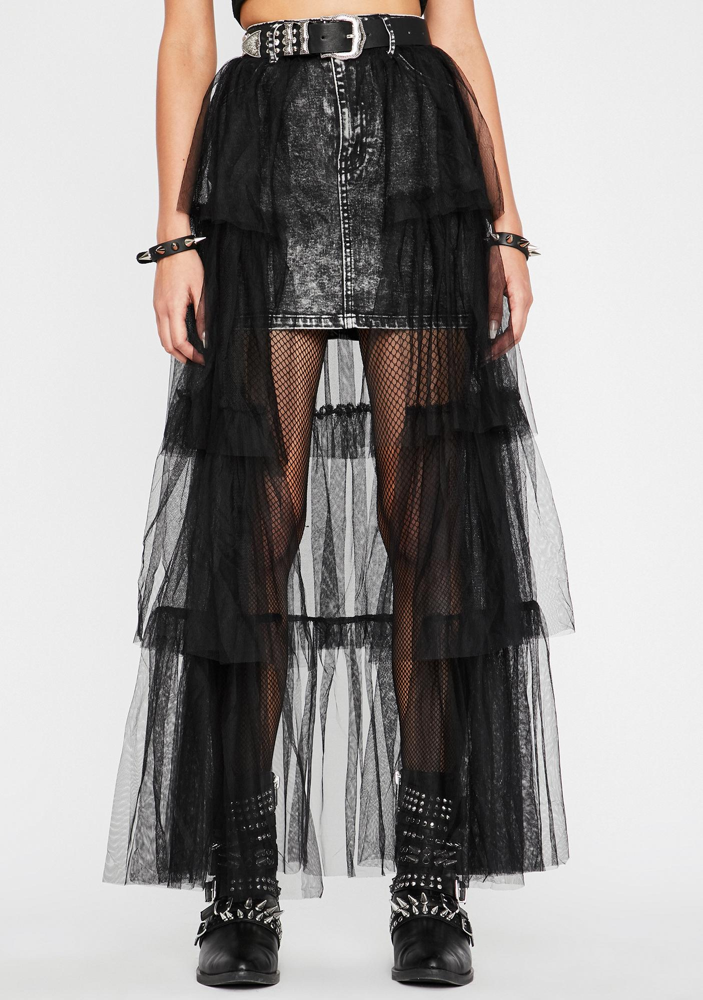 Dark Nuclear Dreams Denim Skirt