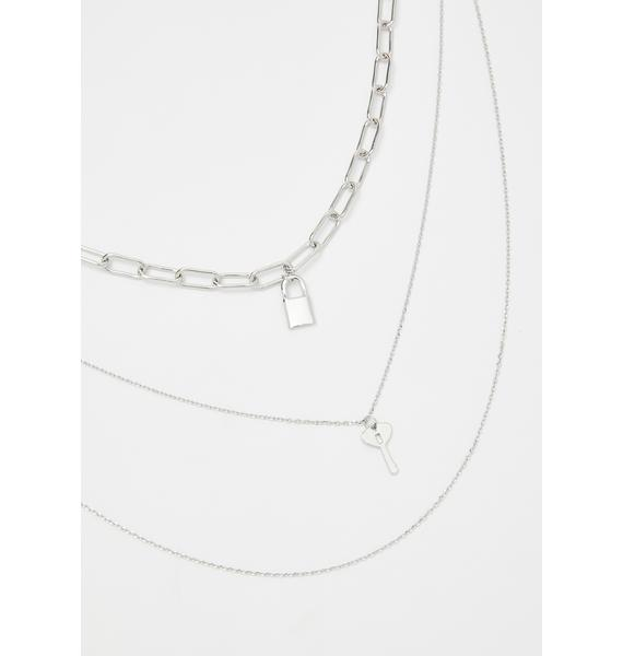 Love Locked Up Layered Necklace