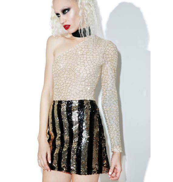 Motel Stripe Nights Sequin Tube Skirt