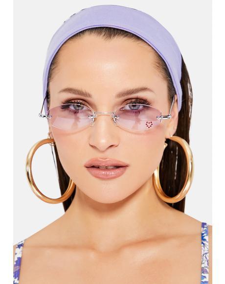 Purple Oval Rhinestone Sunglasses