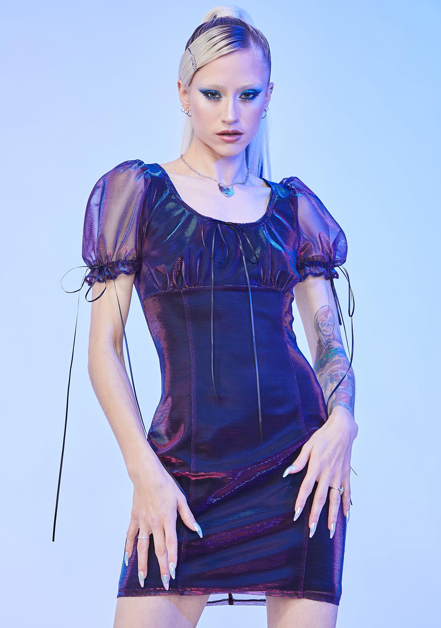 HOROSCOPEZ All The Stars Puff Sleeve Mini Dress