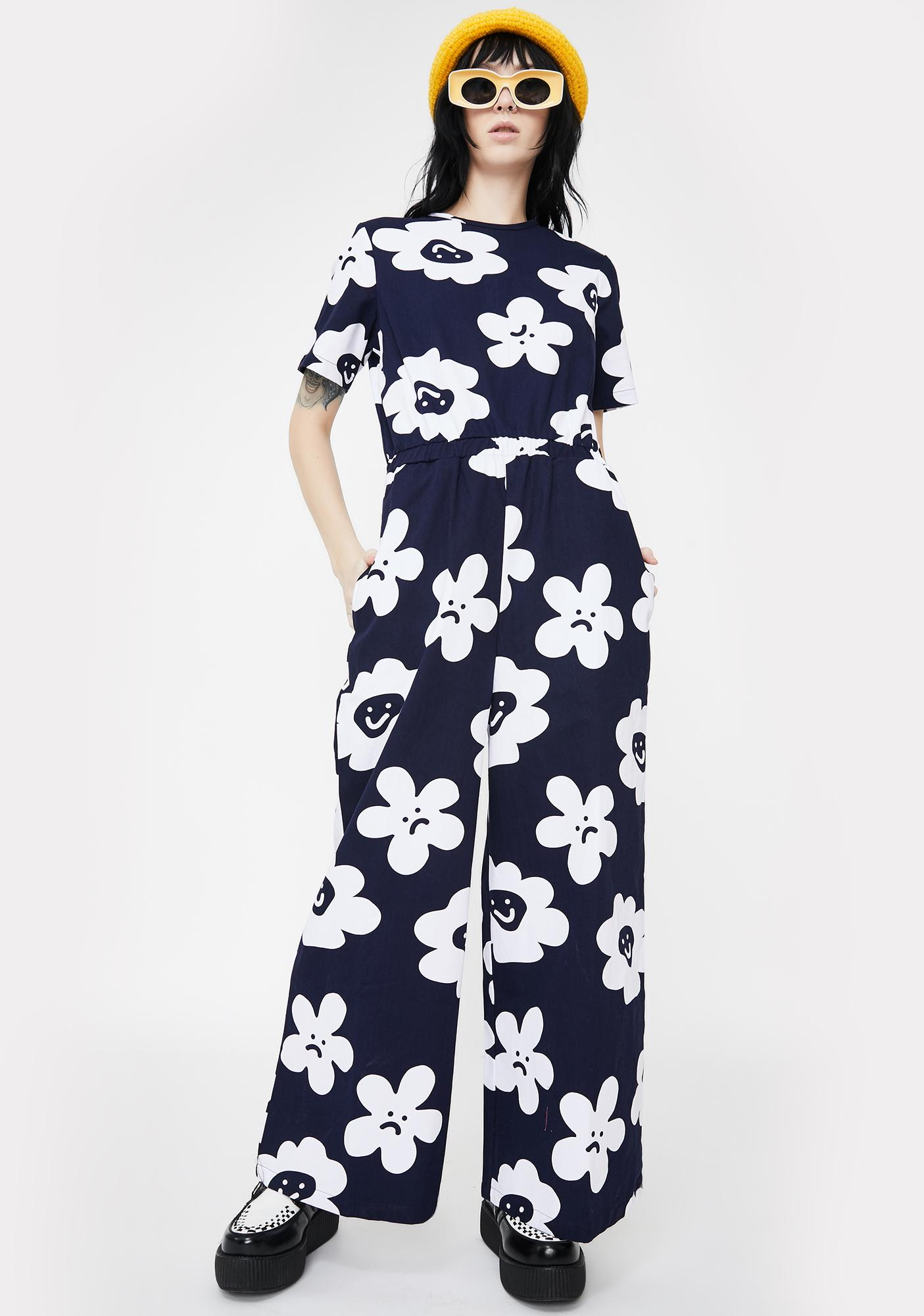 Lazy Oaf Pushing Daisies Wide Leg Jumpsuit