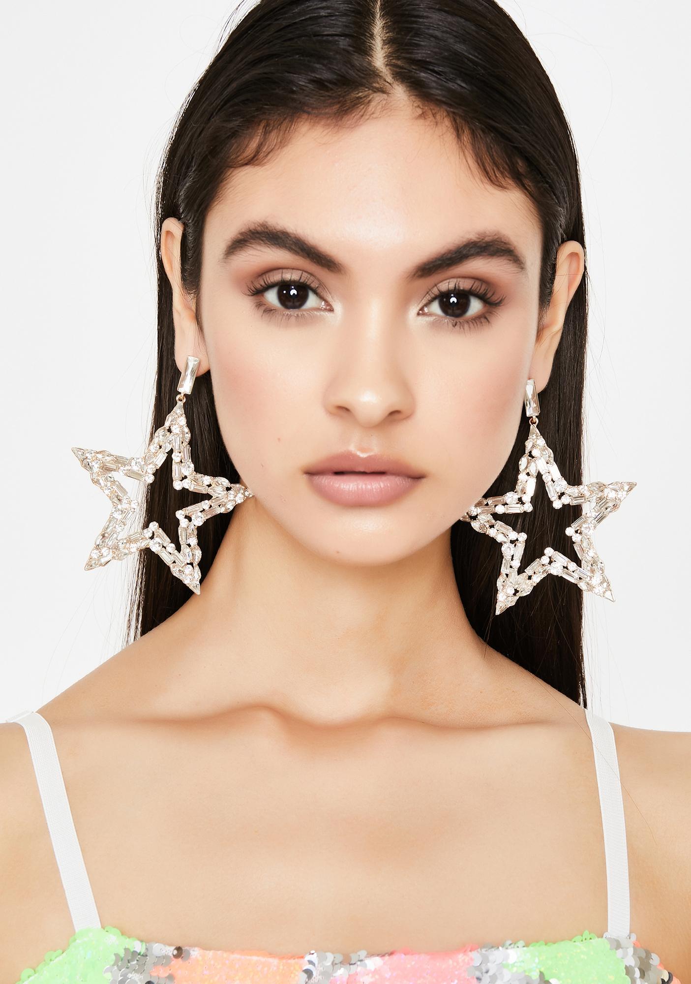 Glowin' Big Star Energy Rhinestone Earrings