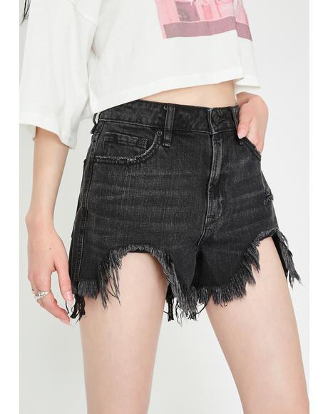 Black Heavy Fray High Rise Mom Shorts