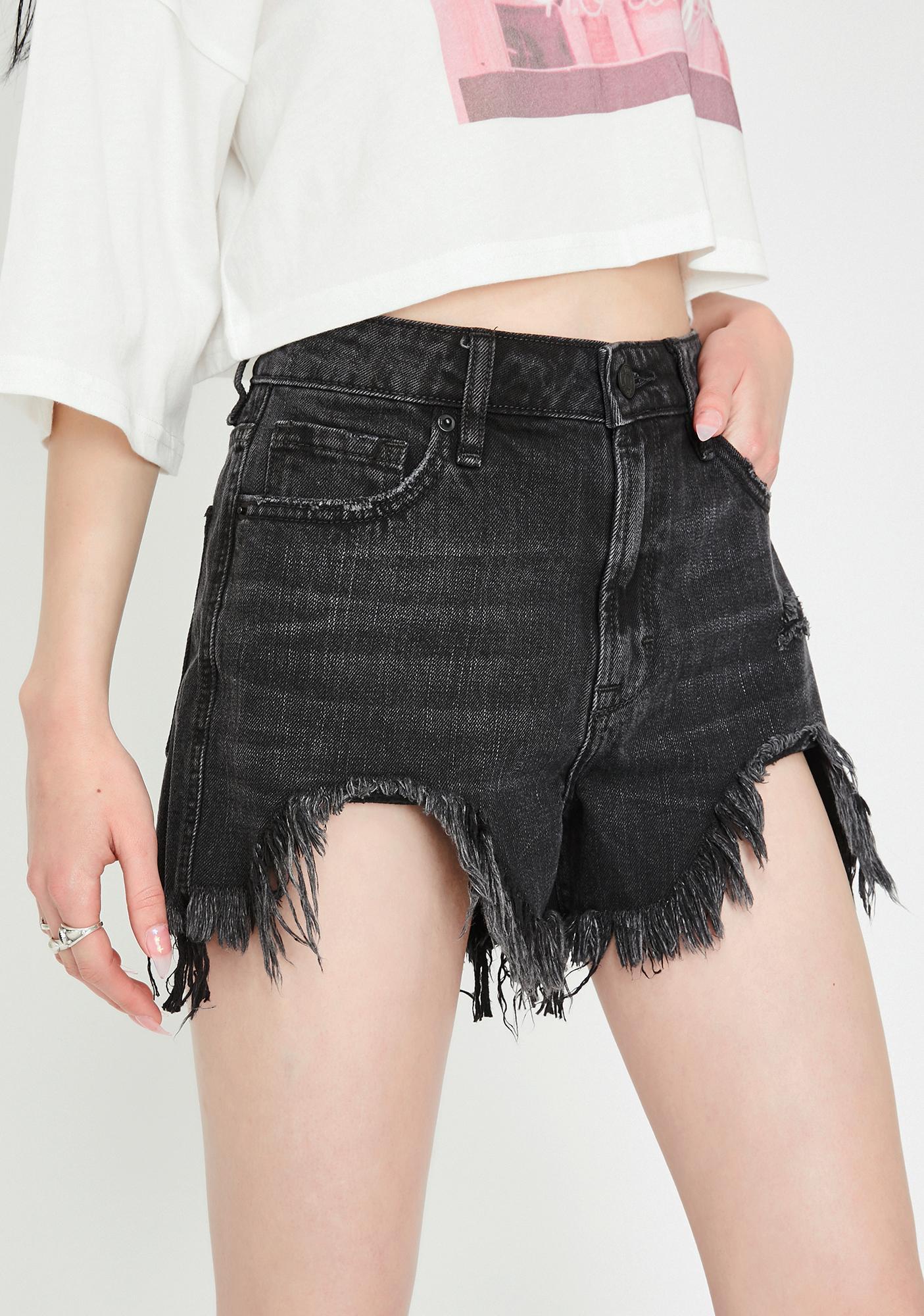 Hidden Denim Black Heavy Fray High Rise Mom Shorts
