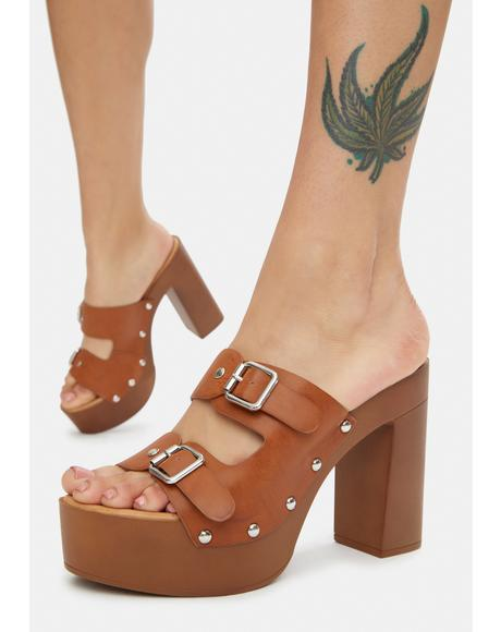 Mocha Stand Ur Ground Buckle Platform Heels