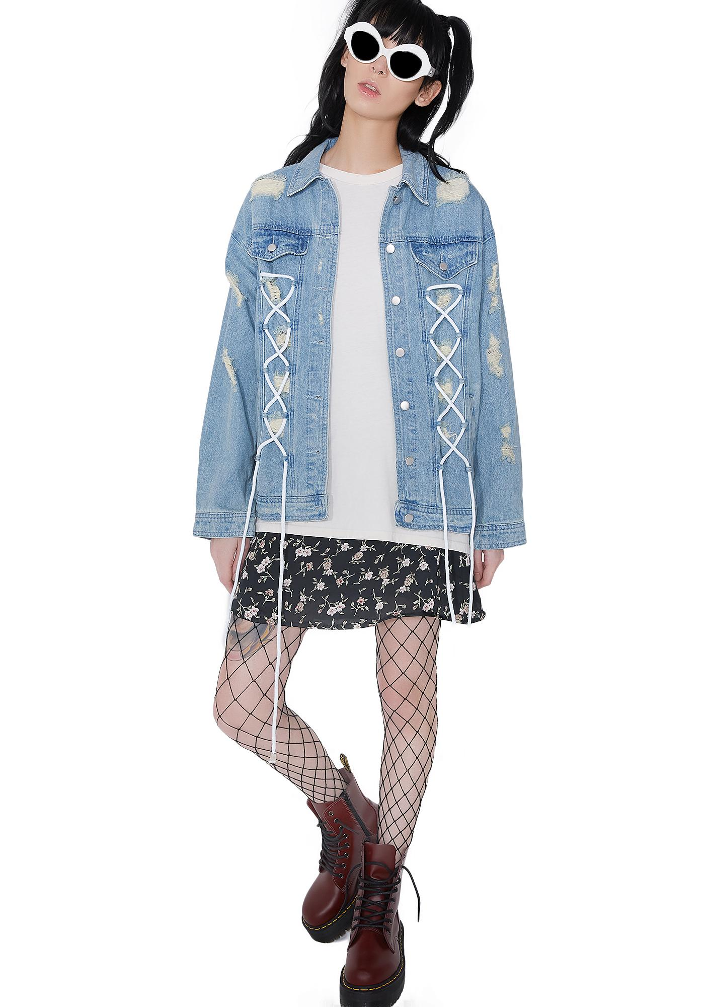 Twice As Nice Lace-Up Denim Jacket